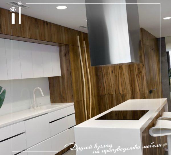 Современная кухня с фасадами из массива