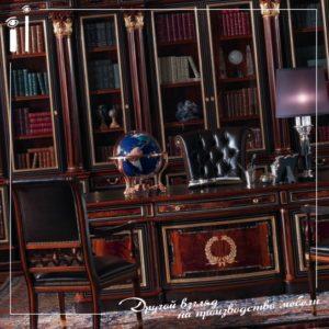 Мебель для кабинета в темно коричневых тонах