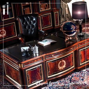 Мебель для кабинета в темно коричневых тонах.