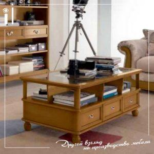 Журнальный столик с 6 ящиками и стеклянной столешницей. Art - 9104