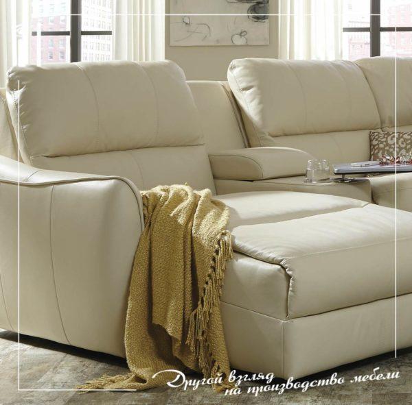Комфортный угловой диван с реклайнером и оттоманкой. Art - 2107