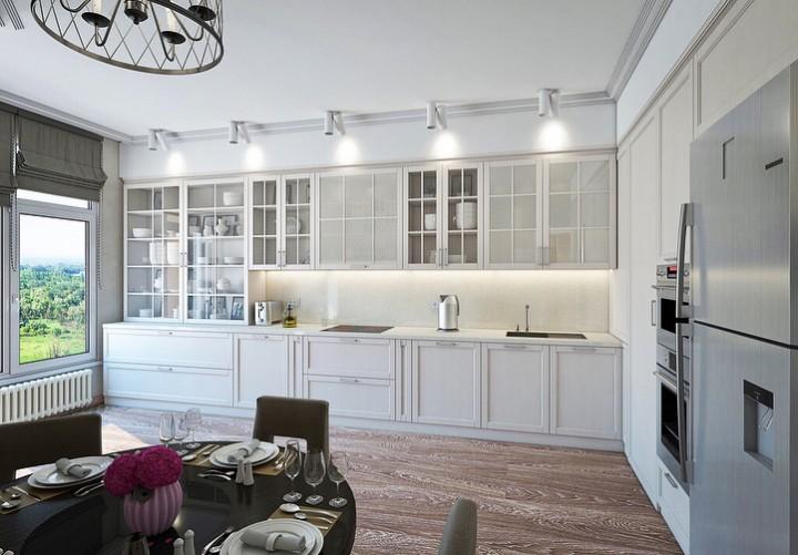 Кухня благородного белого цвета в современном интерьере