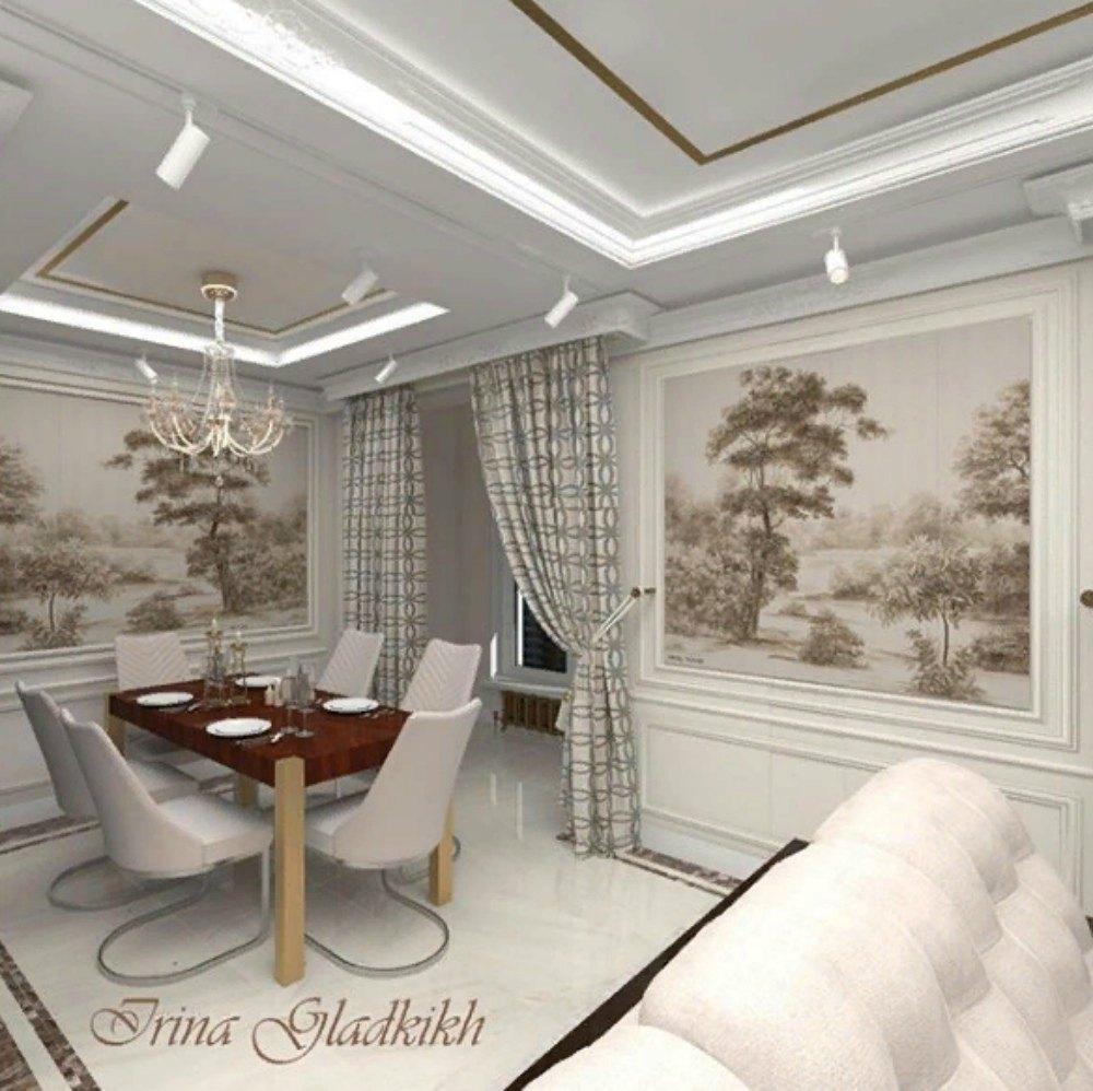 Коричневый стол в белом интерьере