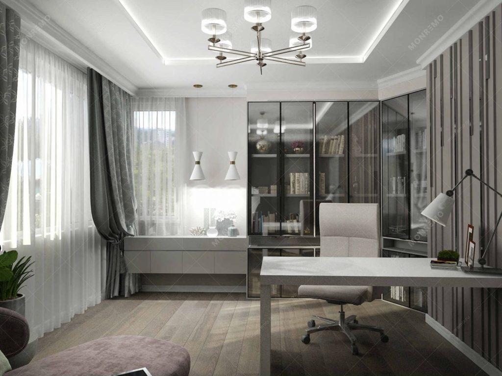 Мебель в дизайн-проекте домашнего рабочего кабинета в современном стиле