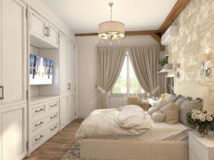 Кровать для молодой семейной пары и комплект дизайнерской мебели от студии Монремо
