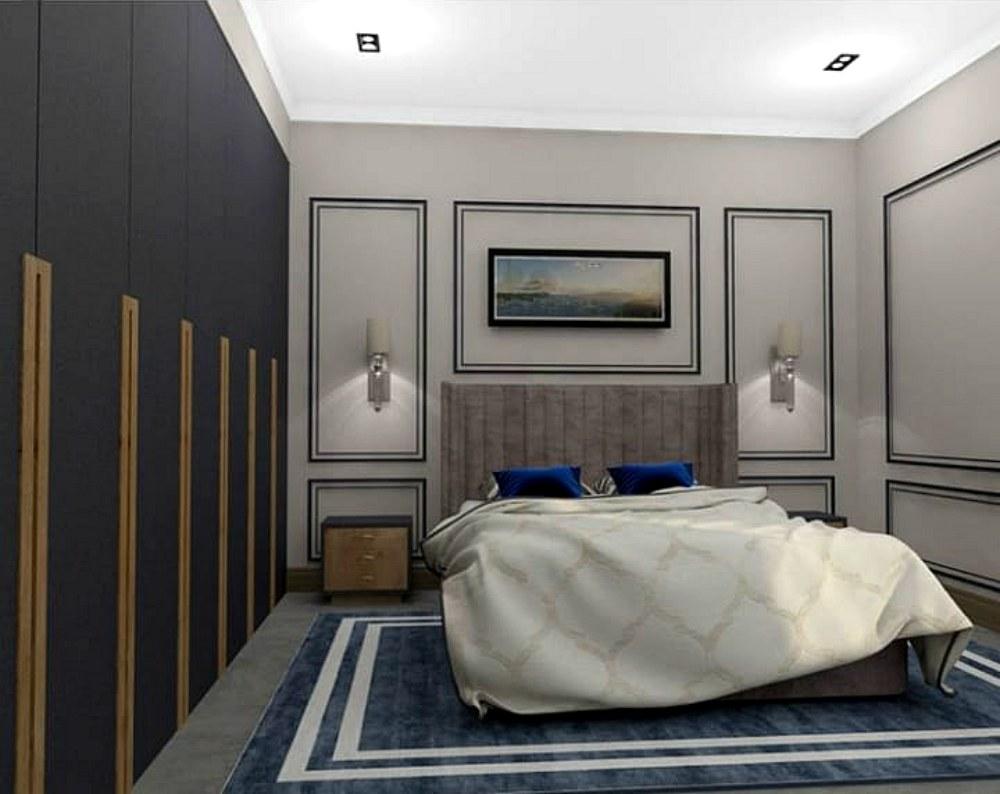 Мужская спальня в спокойных тонах