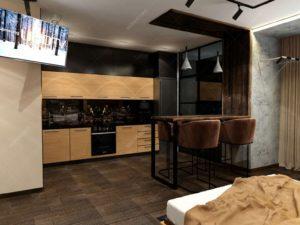 Кухня в стиле лофт в интерьере квартиры молодого мужчины предпринимателя