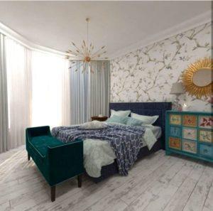 Дизайнерская зеленая кровать на заказ