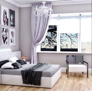 Белоснежная кровать с двухуровневым изголовьем